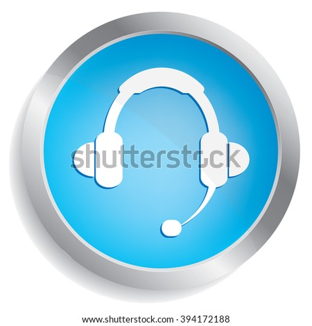 call center icon button - stock photo