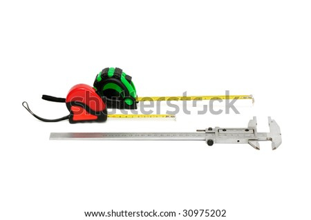 calliper and tape-line isolated on a white background