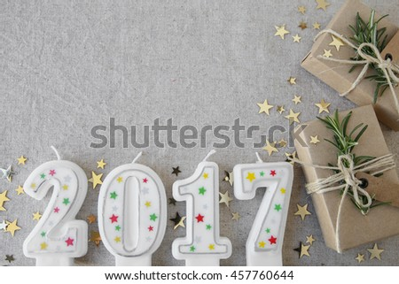 2017 candles with eco present boxes, New Year copy space background