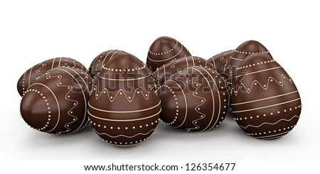Candy easter eggs made of white and dark chocolate. Isolated on white background