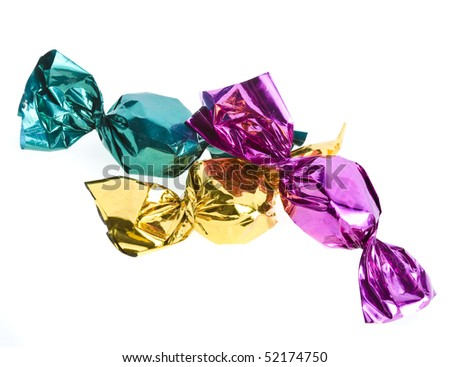 candy in color wrapper isolated on white - stock photo