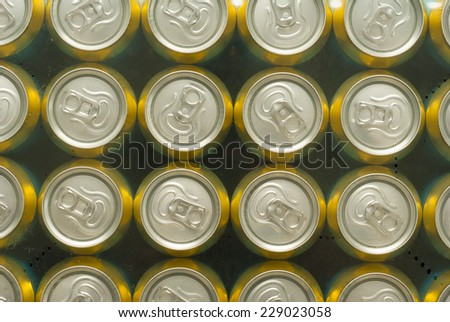 canned drinks under plastic foil  - stock photo