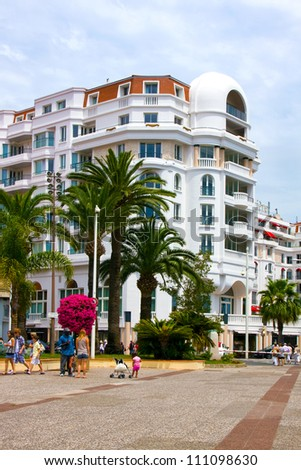 "CANNES, FRANCE - JUNE 13: Luxury  hotel , located on the famous ""La Croisette"" Boulevard in Cannes, French Riviera, France, Europe; June 13, 2010"