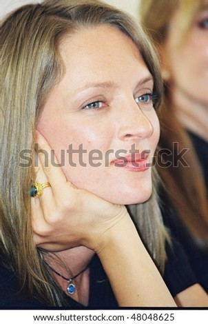 CANNES, FRANCE - MAY 11: Uma Thurman poses during the photocall of the film 'Chelsea Walls' presented for the 33rd Directors' Fortnight during the 54th Cannes Festival May 11, 2001 in Cannes, France - stock photo