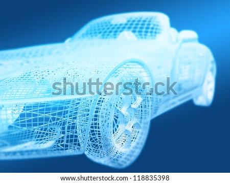 Car design background. 3D render. - stock photo