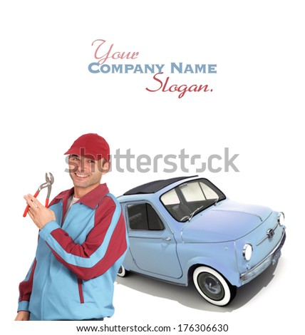Car mechanic with pliers and a vintage European car  - stock photo