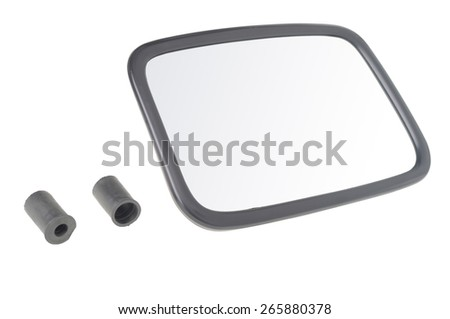 car mirror with parts for montage isolated on white  - stock photo