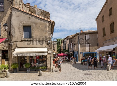 CARCASSONNE, FRANCE - JUL 19, 2015:  View of a street in the old town in the fortress