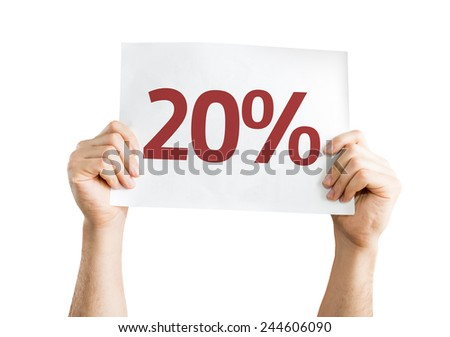 20% card isolated on white background - stock photo