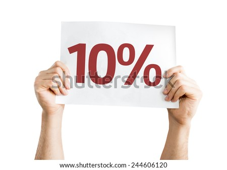 10% card isolated on white background - stock photo