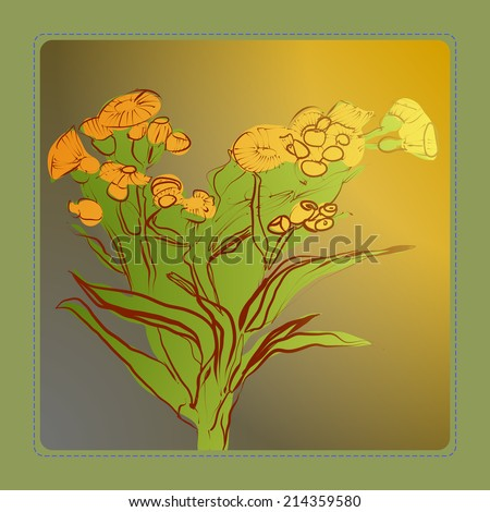 Card of gradient branch summer flowers in a gradient rounded rectangle. Handmade.Raster version. - stock photo