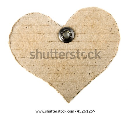 cardboard tag in the form of heart with a metal grommet isolated on white background - stock photo