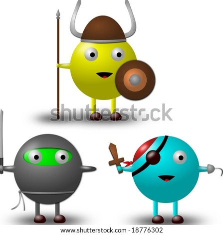 3 Cartoon Characters in Costumes Illustration -1