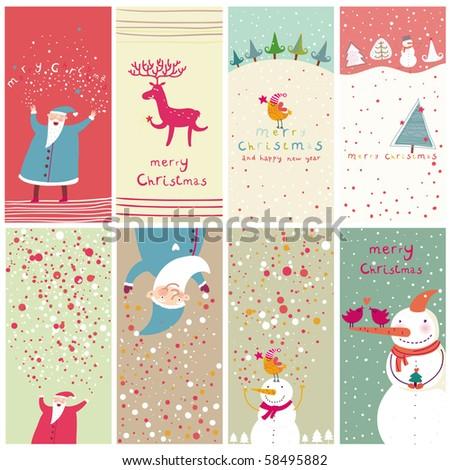 8 cartoon Christmas banners - stock photo