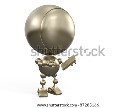 Cartoon gold robot makes a call by mobile phone