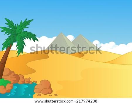 Cartoon illustration of small oasis in the desert - stock photo