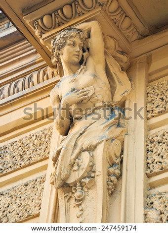 Caryatids sculpture decorates one of the oldest buildings of St. Petersburg