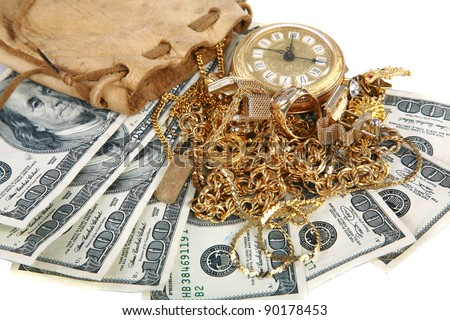 """""""Cash for gold"""" or """"Cash 4 Gold"""" a leather pouch filled with gold jewelry lays upon a pile of cash isolated on white with room for your text. represents CASH FOR GOLD  concepts isolated on white - stock photo"""