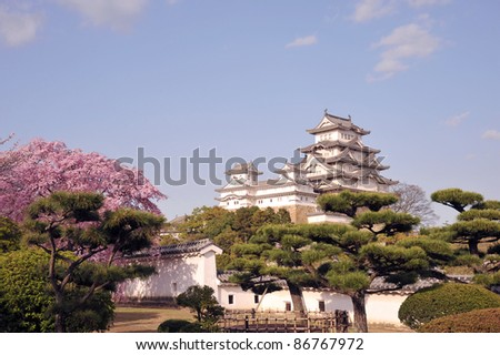 Castle of Himeji with spring cherry blossoms .Japan-1-4 - stock photo