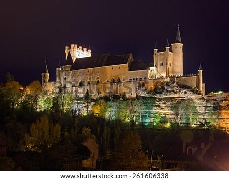 Castle of Segovia in midnight. Castile and Leon, Spain - stock photo