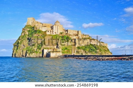 castle of the aragons, ischia, italy - illustration based on own photo image - stock photo
