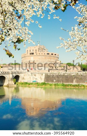 castle saint Angelo and bridge at spring day, Rome, Italy - stock photo