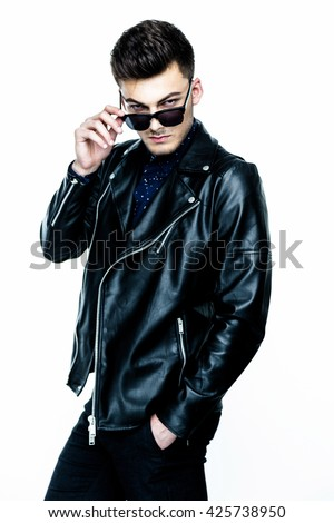 Casual handsome attractive man hipster guy wearing leather jacket  on white background - stock photo