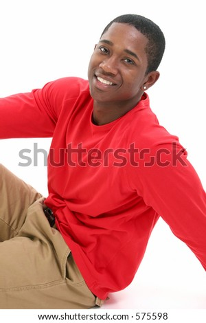 Casual Young Man in Khakis and Long Sleeve Red Shirt