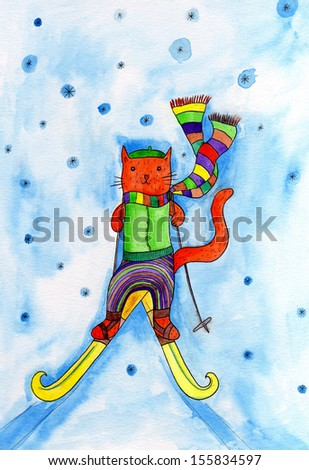 ''Cat skiing''. Watercolor on paper.