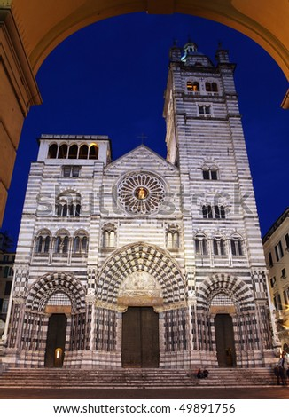 Cathedral of St. Lawrence (st Lorenzo) Genoa Italy - stock photo