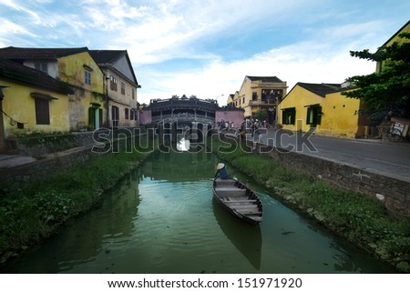 """Cau Chua"" is the oldest bridge in the ancient town of Hoi An, Quang Nam Province. The bridge is also called Japanese or Lai Vien Kieu. Bridge was built in the 17th century - stock photo"