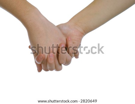 2 caucasians holding hands on white space
