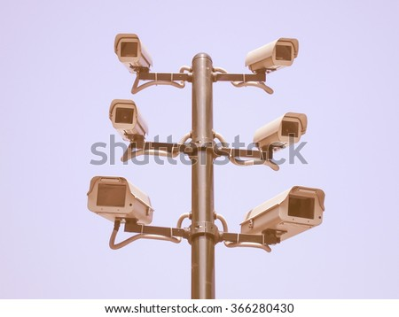 CCTV closed circuit surveillance cameras vintage - stock photo