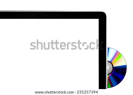 CD ejected from modern computer with white screen for copy space - stock photo