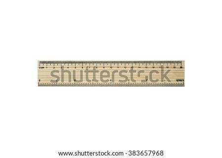 20 centimeters (8 inches)  wood pattern ruler (isolated and have clipping path) - stock photo