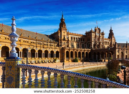 central building and river at  Plaza de Espana. Seville, Spain