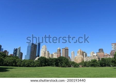 Central Park and Manhattan skyline, New York City - stock photo