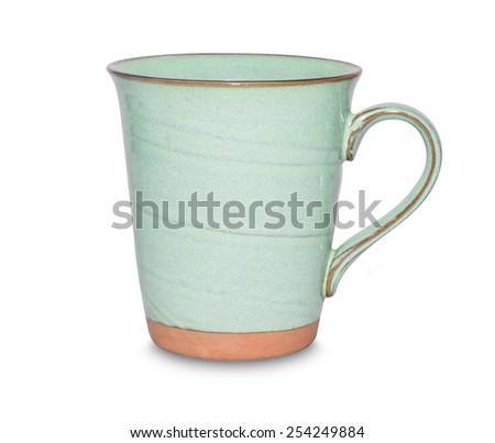 ceramic mug isolated on white background. - stock photo