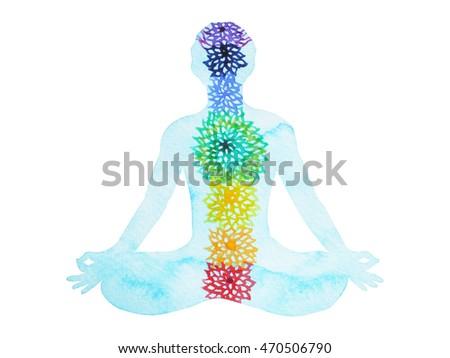 original yoga painting omwoman yoga meditate. 7 Chakra Color Lotus Pose Yoga, Watercolor Painting Hand Drawn Design Illustration Original Yoga Omwoman Meditate