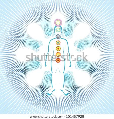 7 chakras in the body - stock photo