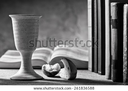 chalie of wine and bible - stock photo