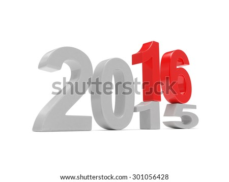2015-2016 change new year 2016 isolated