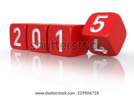 2015 Change - Red Dice. 3D rendering isolated on white background.