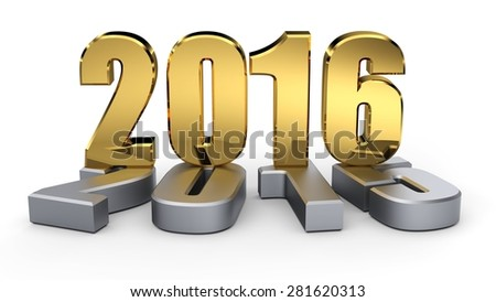 2015-2016 change represents the new year golden 2016. 3d illustration