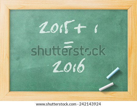 2015-2016 change represents the new year 2015. Green board display 2015 + 1 = 2016. - stock photo