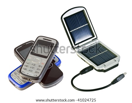 charging solar batteries and mobile phone isolated on white - stock photo