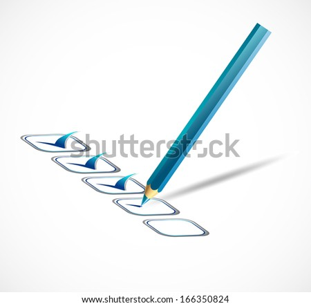 check list and green tick marks - stock photo