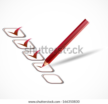 check list and red tick marks - stock photo