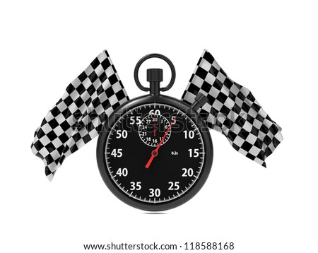 Checkered flag with Stopwatch. Start - Finish Concept.