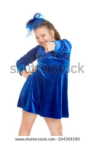 Cheerful girl in a blue dress - isolated on white background - stock photo
